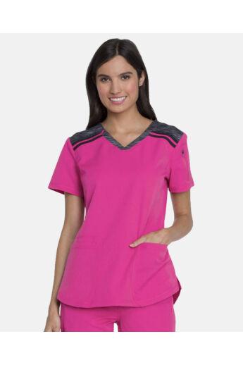 V-nyakú Női Kórházi Tunika-Hot Pink