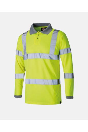 Jól láthatósági hosszú ujjú galléros póló Yellow