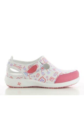 LILIA női bőrcipő- Rózsaszín virágmintás