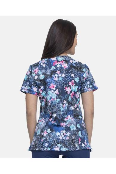 Mintás Női Egészségügyi Felső  -kék virágmintás